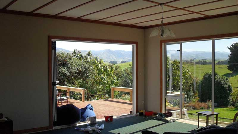House extension work completed in Kapiti by SWT building. Interior to exterior shot